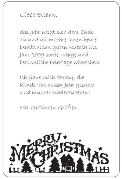 Vorlage elternbrief weihnachten