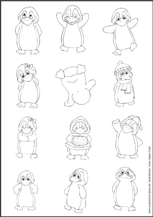 pinguin ausschneidebogen stempelvorlagen